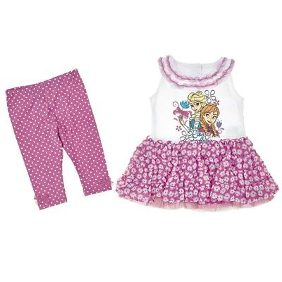 Disney Frozen Elsa Girl Pink Ruffle Tulle Dress Tunic Top Leggings Outfit Set 2T