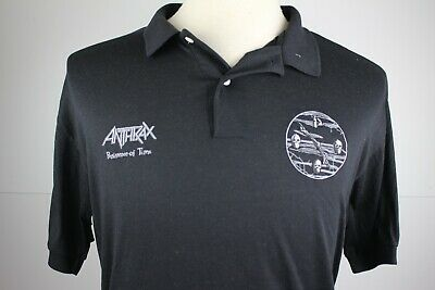 Vintage 90s Anthrax Metal Band Peristence of Time Polo Collar T Shirt Thrash L