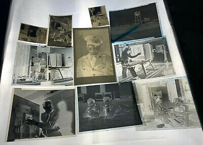 Lot of 10 WWII Photos Negatives USAAF Photographer Soldiers Rifles Camp Lab Army