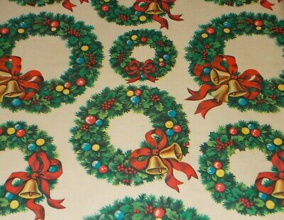 """Vtg Christmas Wrapping Paper Gift Wrap 1960 Wreath Bells Ribbon Nos 20"""" X 30"""""""