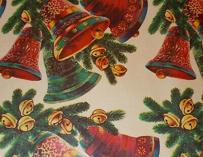"""Vtg Christmas Wrapping Paper Gift Wrap 1960 Jingle Merry Bells Nos 20"""" X 30"""""""