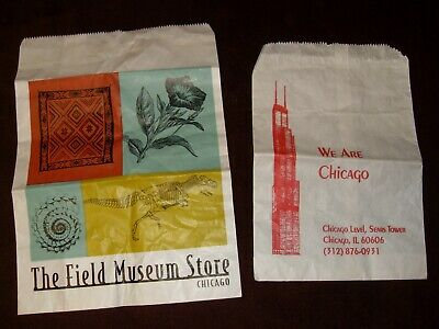 2 Chicago PAPER Souvenir Bags ~ FIELD MUSEUM, SEARS TOWER  (11 X 7.5, 13 X 9.5)