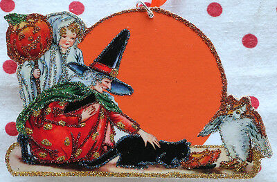 Glittered Wooden Halloween Ornament~Witch Moon & Ghost Boy~Vintage Card Image`