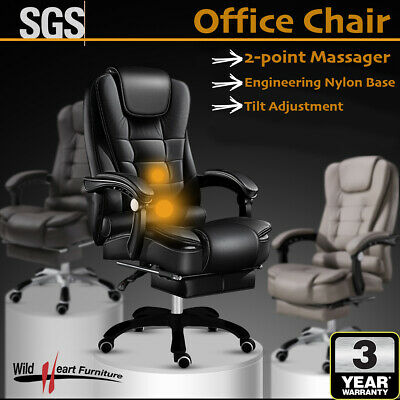 Massage Office Chair Premium PU Leather Recliner Computer Gaming Seat