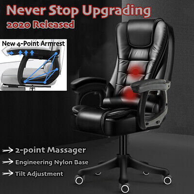 Office Chair Massage Premium PU Leather Computer Gaming Seat