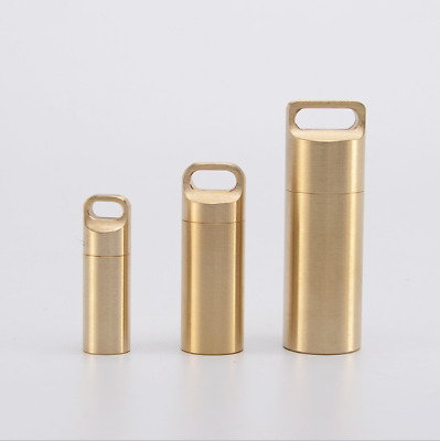 Outdoor EDC Solid Brass Waterproof Charm Pendant Pill Storage Container DL-8B
