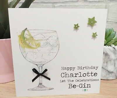 Personalised Handmade Female Gin Birthday Card Best Friend Sister Auntie ANY AGE