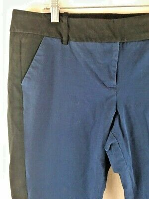 Mossimo Stretch Extensible Capri Crop Pants Size 16 Blue With Black Inserts