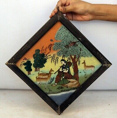 Wooden Framed Painting Glass Collectible Vintage Beautiful - 11400