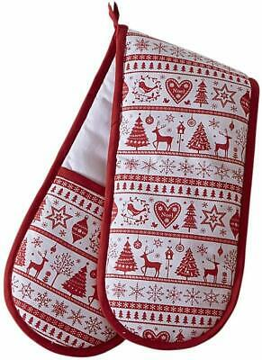 Yuletide Christmas Double Oven Glove, Christmas Trees and Reindeer, Red & White