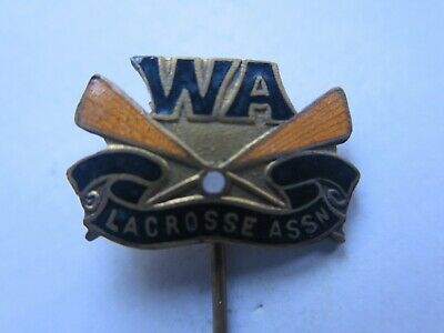 WESTERN AUSTRALIAN LACROSSE ASSn MEMBERS ENAMEL BADGE EXCELLENT CONDITION c1950s