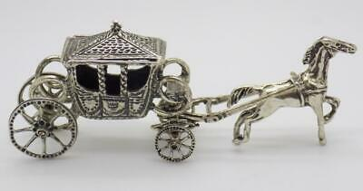 Vintage Solid Silver Italian Made Royal Carriage Miniature Stamped Figurine