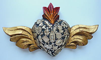 Carved Wood Milagros Flaming Heart with Wings - Mexican Folk Art