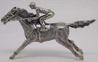 Vintage Solid Silver Italian Made Large Racing Horse Figurine Statue Hallmarked