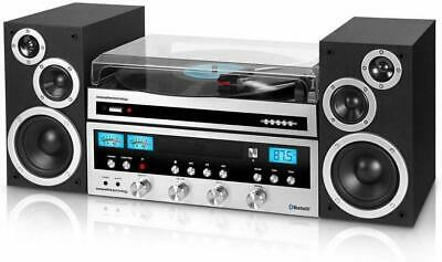 IT Bluetooth 3-Speed Turntable Home Classic Shelf Stereo System CD FM AUX Remote
