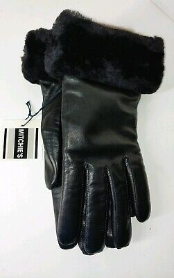 Mitchies Matchings Leather with Beaver Fur Trim Womens Gloves Size 8 NEW