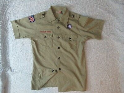 BSA Boy Scout Uniform Shirt Youth LARGE SS MADE IN USA w/WS 65%Poly/35%Cotton