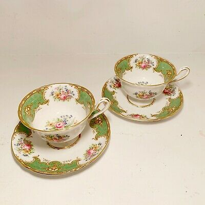 2 Shelly Tea Cup and Saucers Fine Bone China Duchess 13402 Green Gold Stripe UK