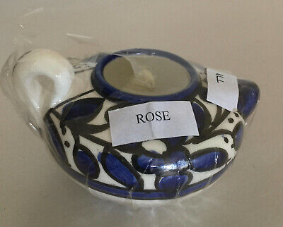 New in Wrapper Pottery Jar With Candle, Blue & White Pattern Made in Jerusalem