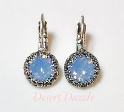 Crystal Leverback Earrings Antiqued Silver Plate Made With Swarovski Blue Opal