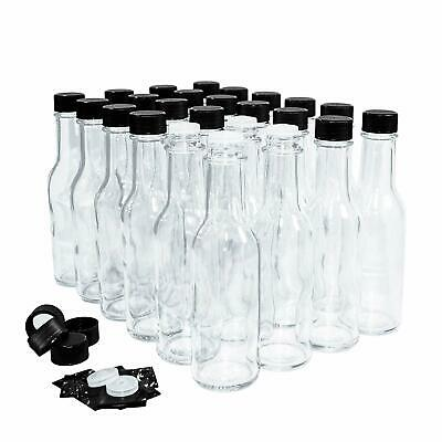 Hot Sauce Woozy Bottles, 5 Oz with Black Caps and Inserts - 24 Pack