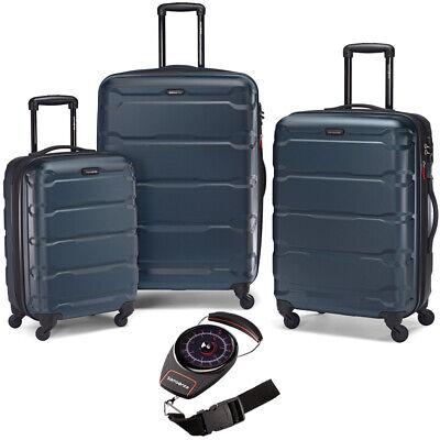 Samsonite Omni Hardside Luggage Nested Spinner Set 3 Pcs Teal w/ Luggage Scale