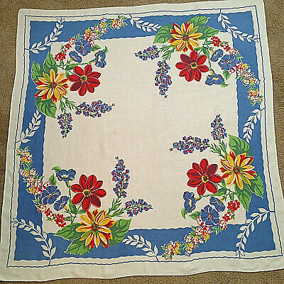 Vintage Mid-Century Tablecloth 52x49 Printed Linen White French Blue Floral