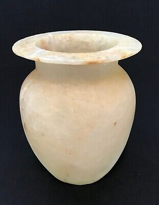Egyptian Old Kingdom Hand Carved Alabaster Jar Vessel Vase