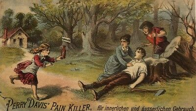 PERRY DAVIS PAIN-KILLER Victorian Quack Medicine Remedy Card Print Ad German