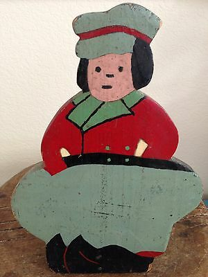 Antique Vtg Dutch Man Boy Farm Sign Old Folk Art Wood Primitive AAFA Early Paint