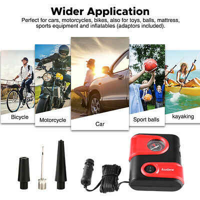 AUDEW 100W 12V DC Car Tire Inflator Tyre Air Compressor Pump 2 Nozzles Adaptor M