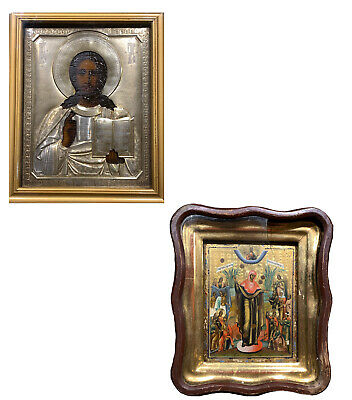 Lot Of 4 Russian Religious Icons Very Nice Pieces, Silver Riza, Gilt, Wood Frame