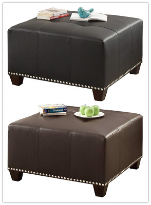 Super Poundex Bobkona Hayden Bonded Leather Ottoman Black White Inzonedesignstudio Interior Chair Design Inzonedesignstudiocom