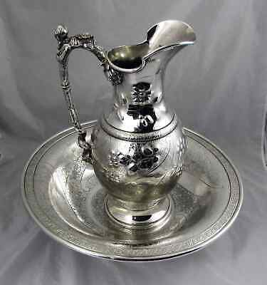 19th C Reed & Barton Silver Pitcher & Wash Bowl Aesthetic from The Gilded Age