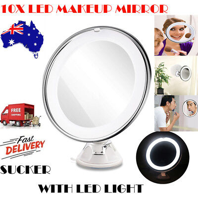10x Magnifying Makeup Vanity Cosmetic Beauty Bathroom Mirror with LED Light KH