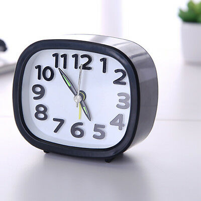 Rectangle Art Small Bedroom Compact Travel Quartz Beep Alarm Clock Portable TON