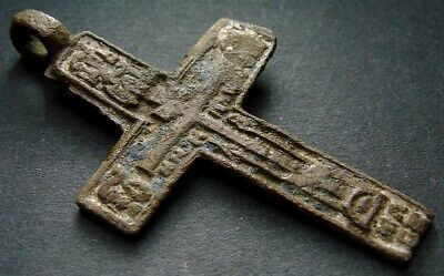 ANCIENT BIG BRONZE CROSS. RELIGIOUS ARTIFACT 17-18 CENTURY. 53 mm. (R.065)