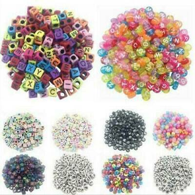 100Pcs Spacer Acrylic Beads DIY Alphabet Letter Cube Bracelet Jewelry Making