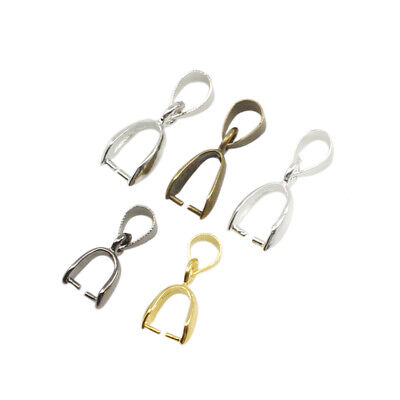 50pcs Pendant Pinch Clip Bail Connector For DIY Necklace Jewelry Making 5 colors