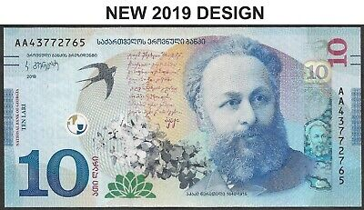 2019 Georgia Georgien 10 Lari P-77 Unc New Design