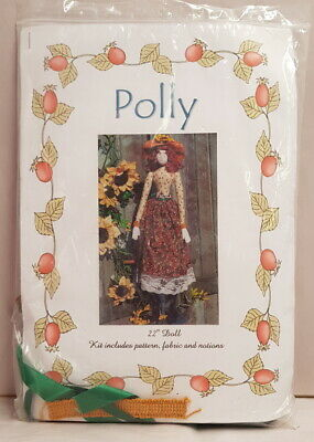 "Country Craft Rag Doll Polly 22"" (56cm) Doll Kit includes Pattern Fabric Notions"