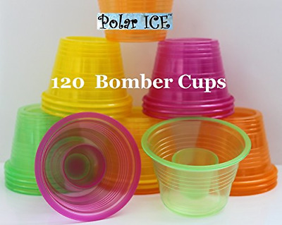 Jager Bomb Shot Glasses Disposable Plastic Assorted Neon Stackable Design 120pcs