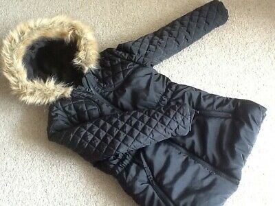 George @ Asda 7-8 Y Girls Black Padded Warm School Jacket Coat Parka Fur Hood
