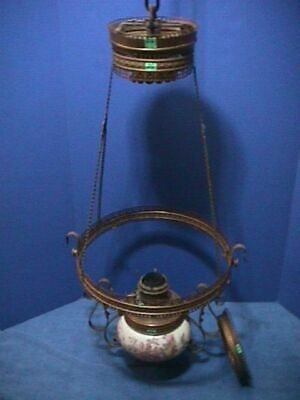 ANTIQUE Victorian HANGING Oil Lamp ORNATE Brass & GLASS FONT Ceiling PARTS (26F)