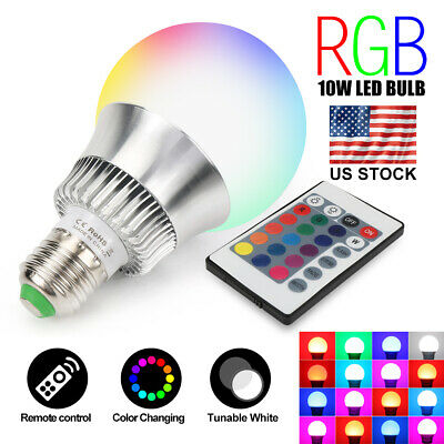 Multi Color Changing E26 10W RGB LED Light Bulb Remote Control Memory Decor Lamp