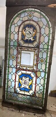 Very Large Stained Glass Window Panel Hand Painted Architectural Old Antique