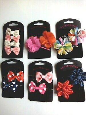 Ladies Girls  Spotty french Bow Beak Hair Clips Grips 6cm choice hh