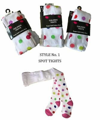 Girls/Kids Supersoft Cotton Rich Tights Stripe/Spots/Flowers