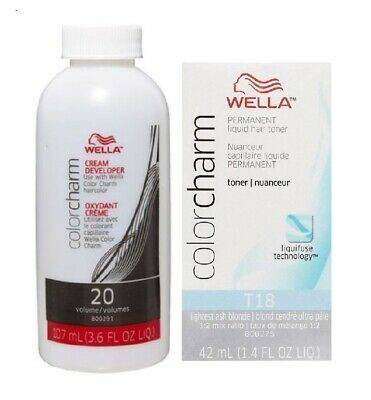 Wella-T18 Lightest Ash Blonde + Developer (Vol.20)