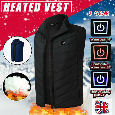 Electric Vest Heated Jacket USB Warm Up Heating Pad Winter Body Warmer Cloth UK